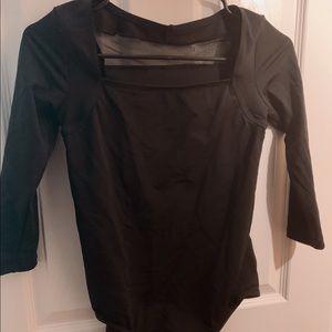 Natalie Dancewear Black Mesh Leotard L